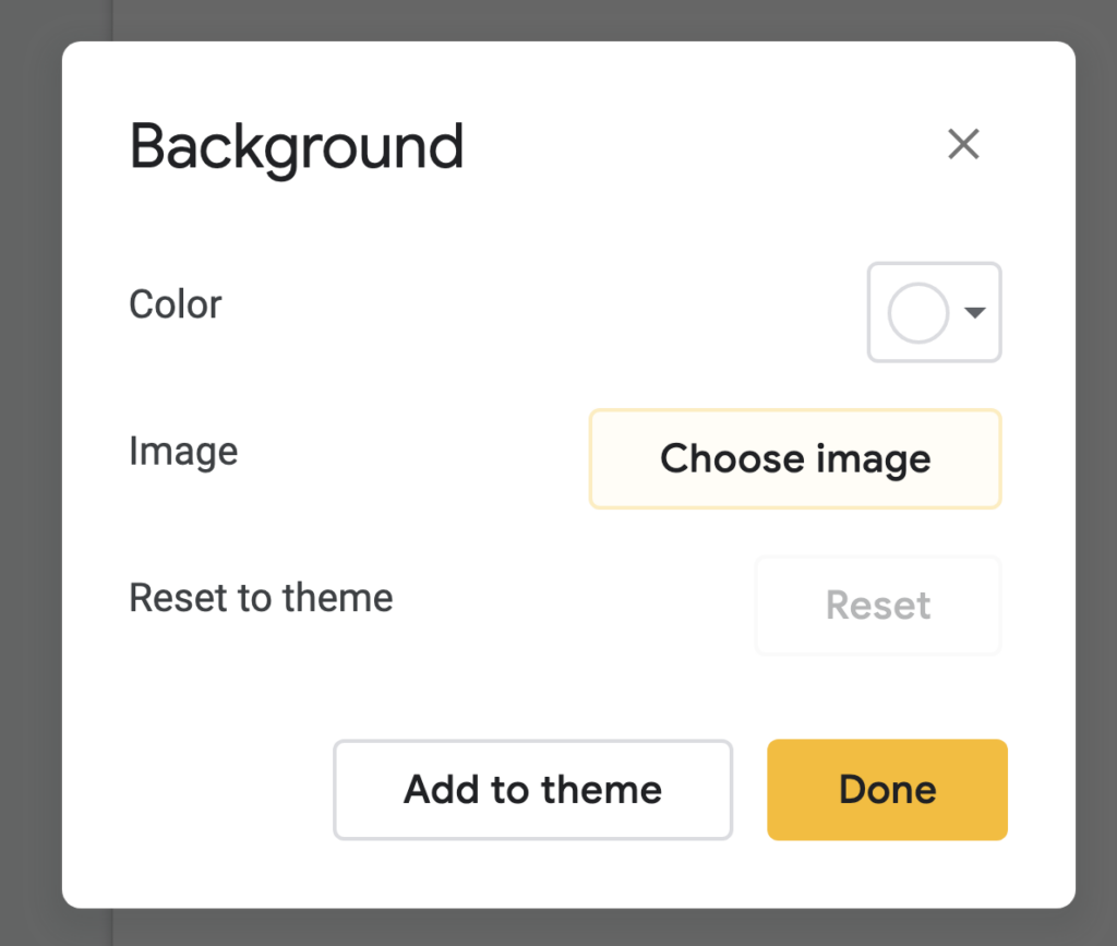 how to change the background to an image for google slides