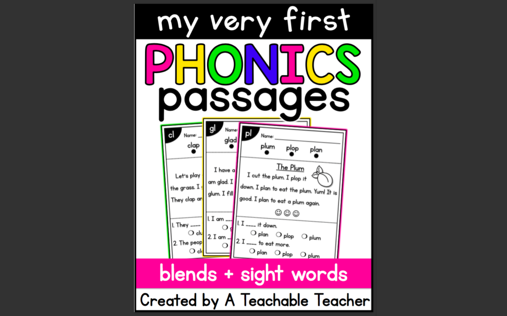 Phonics passage resource for how to use resources in Seesaw tutorial