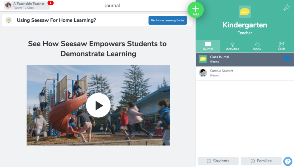 Seesaw digital learning tool home page for how to use resources in Seesaw tutorial