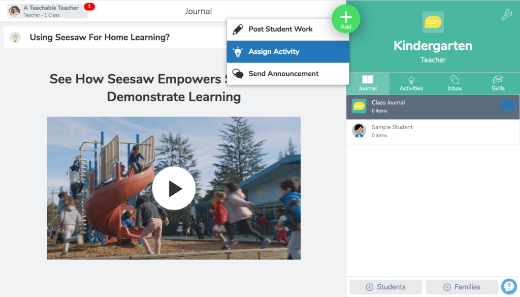 Creating an activity for how to use resources in Seesaw tutorial