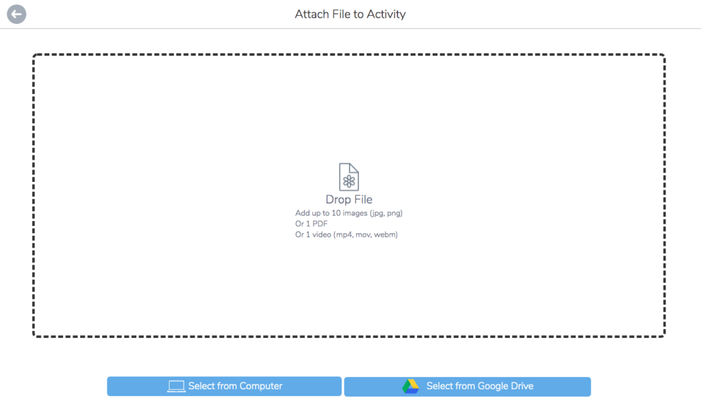 Select a file to upload as an activity for how to use resources in Seesaw tutorial