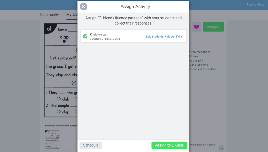 Assigning an activity to students for how to use resources in Seesaw tutorial