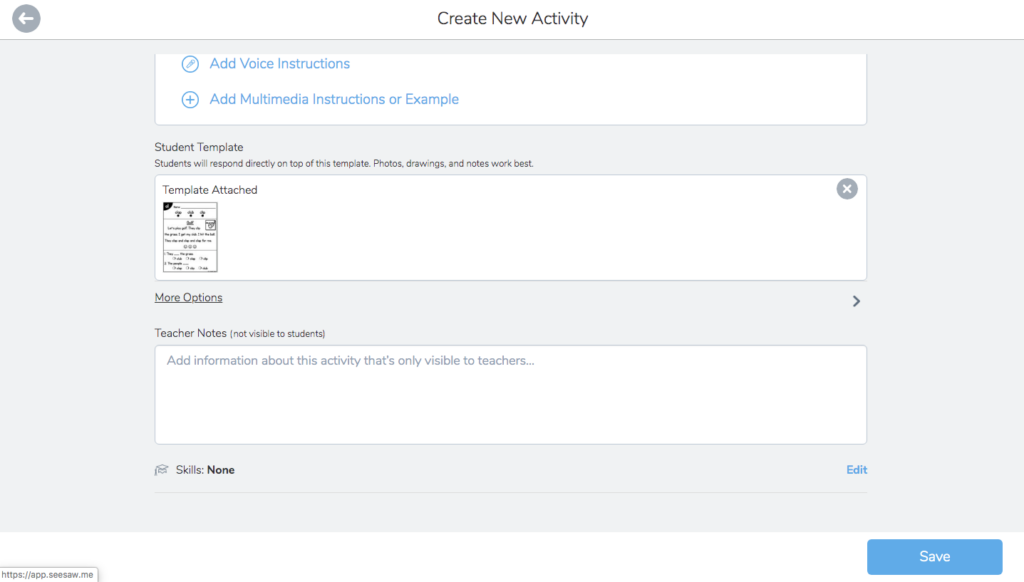 Showing options for adding features and teacher notes to an activity