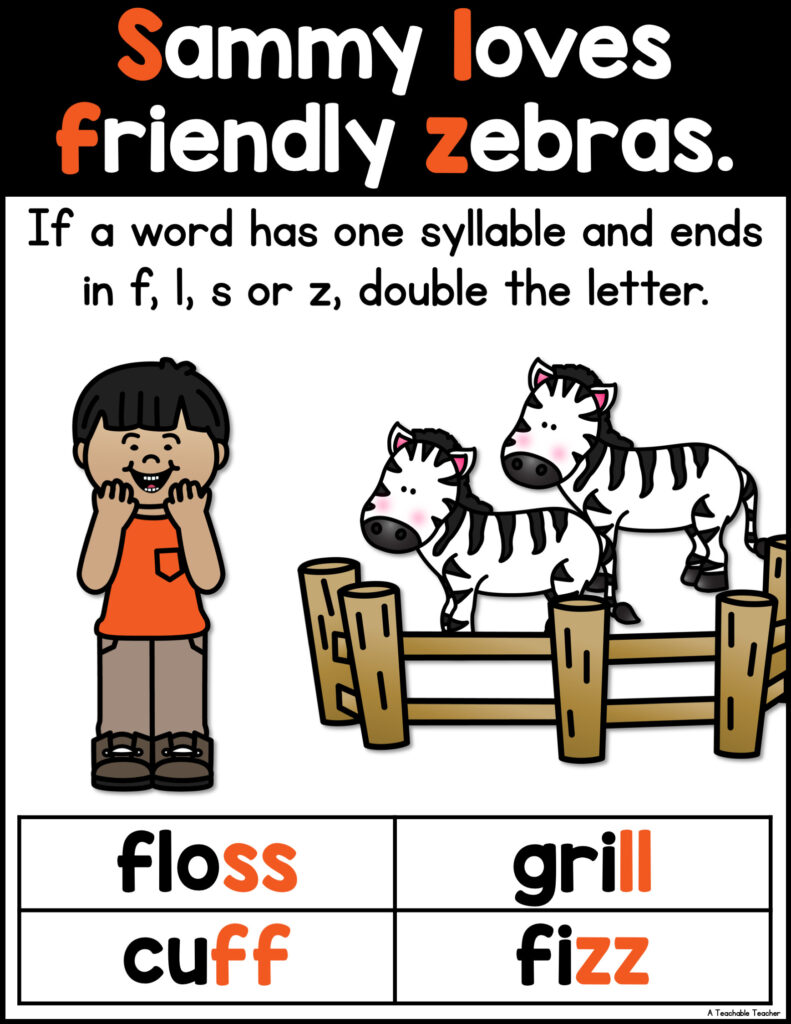 double final consonants with sammy loves friendly zebras