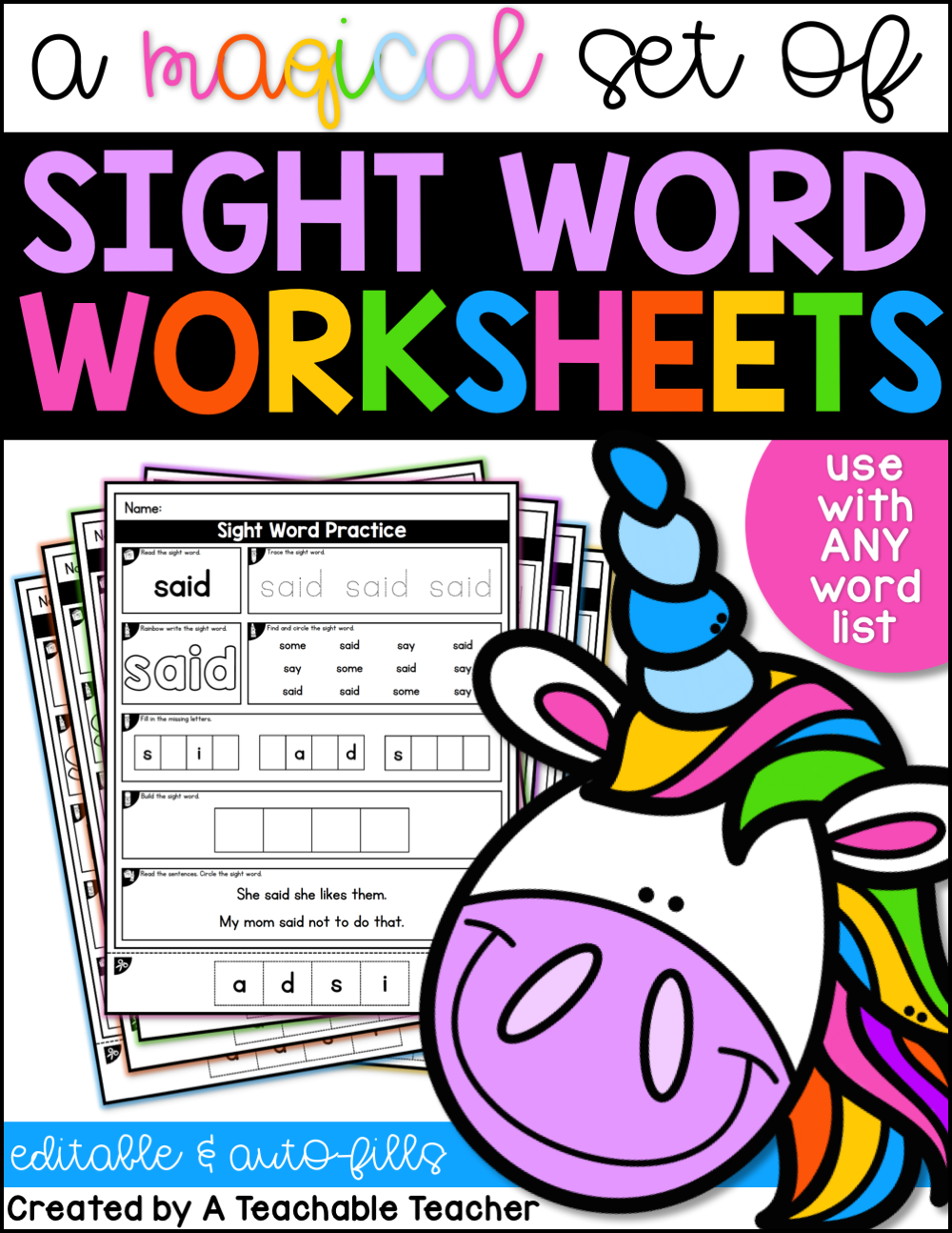 - Editable Sight Word Worksheets - A Teachable Teacher
