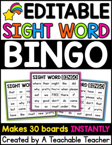 sight word bingo autofill