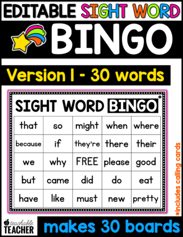sight word bingo first grade