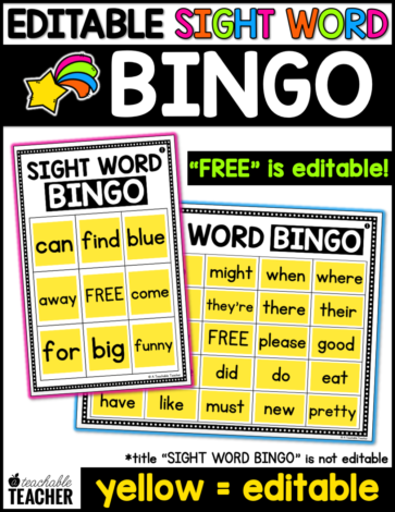 sight word bingo editable