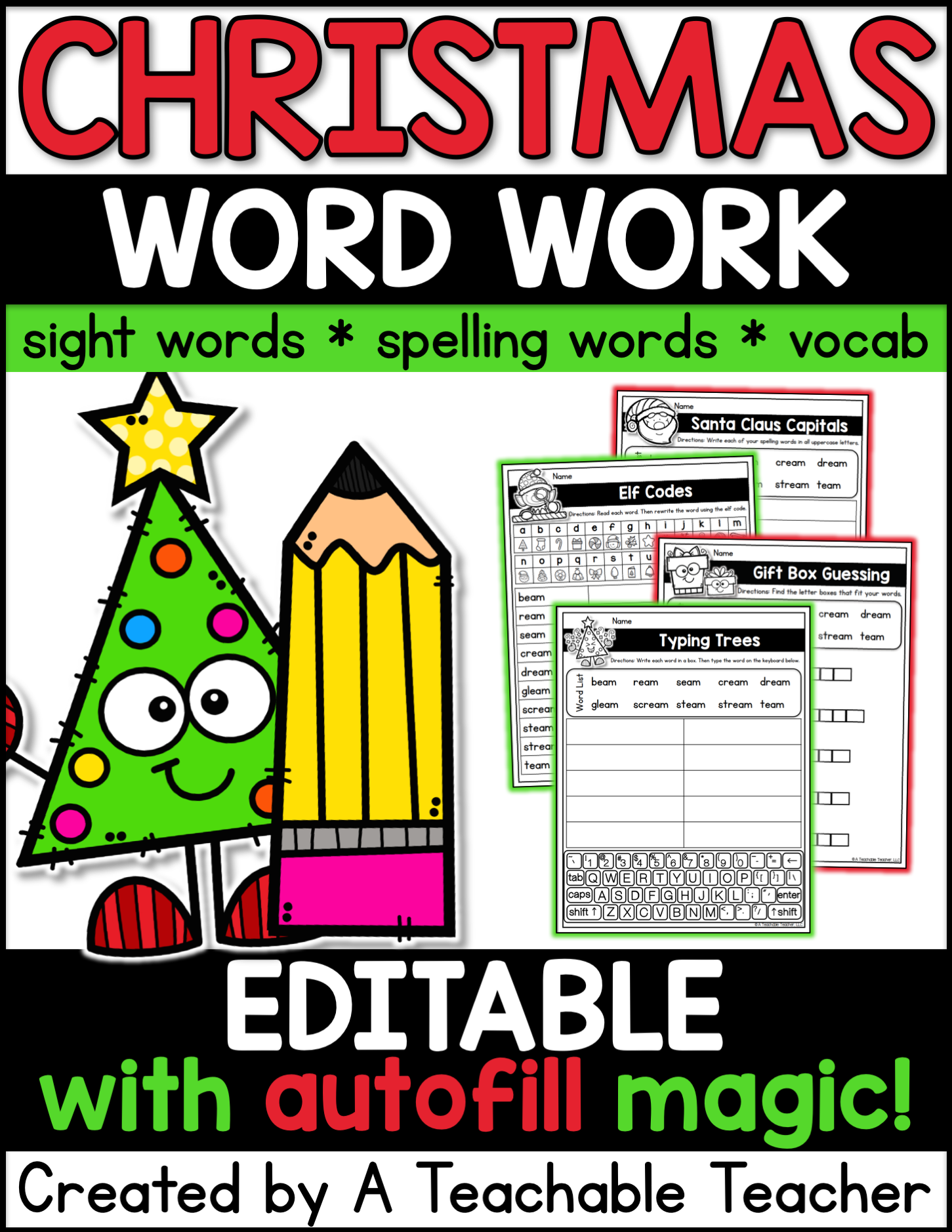 Editable Christmas Word Work - A