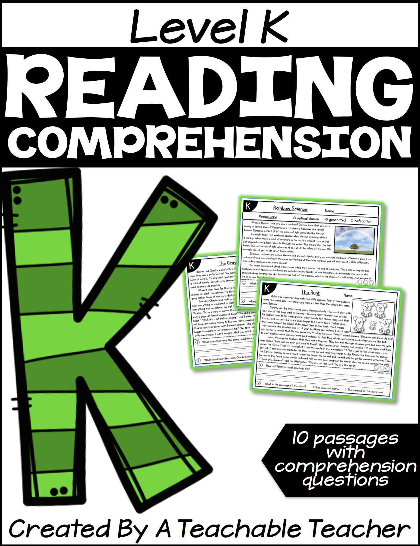 - Level K Reading Comprehension Passages And Questions - A Teachable