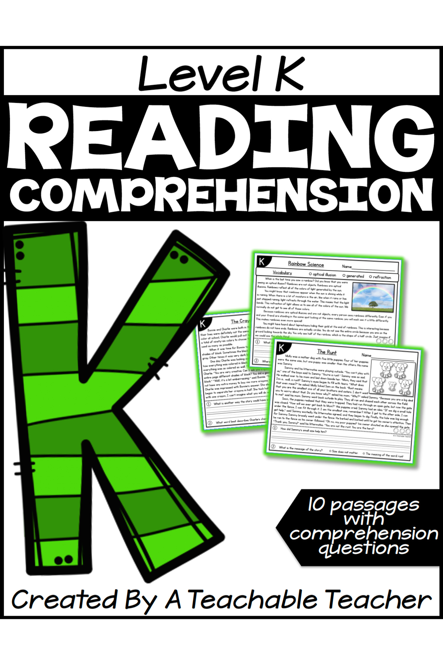 - Level K Reading Comprehension Passages And Questions - A