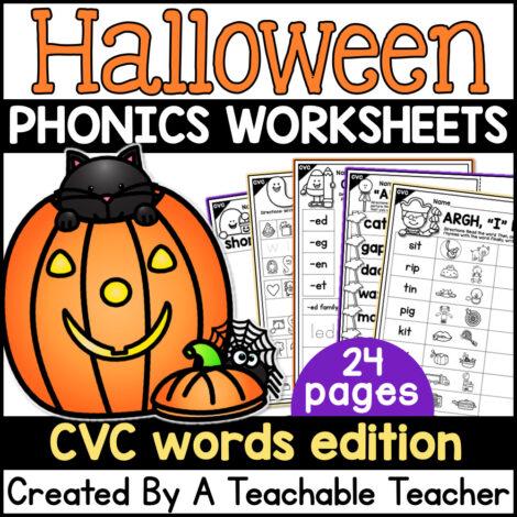 halloween phonics worksheets cvc edition